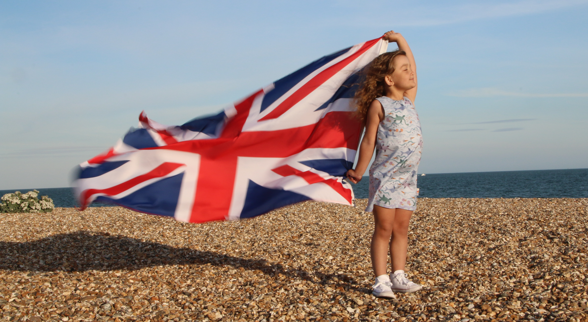 Model wears the reversible dinosaur dress and holds a British union flag