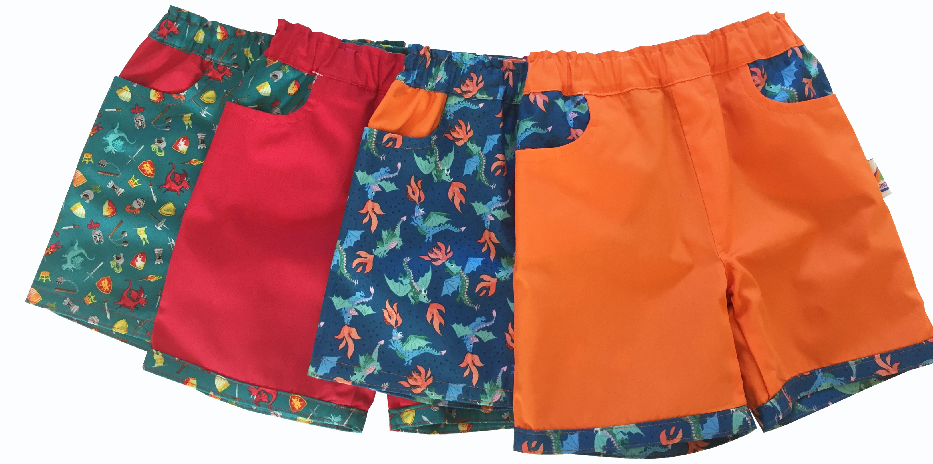 Colourful reversible knights and dragons shorts