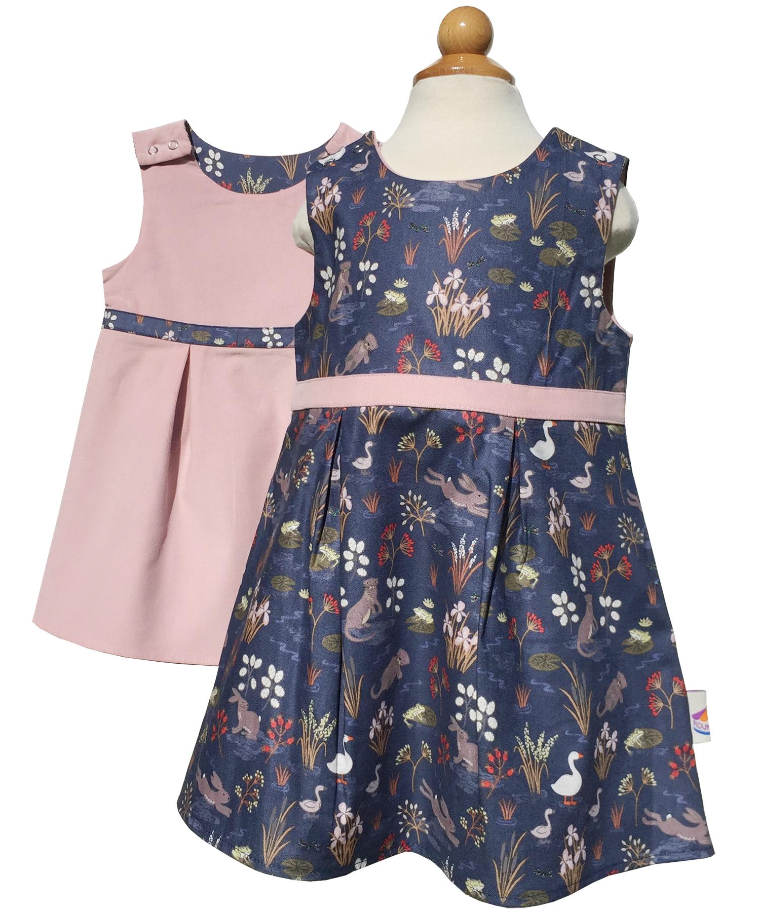 Reversible Lily Dress with powder pink corduroy