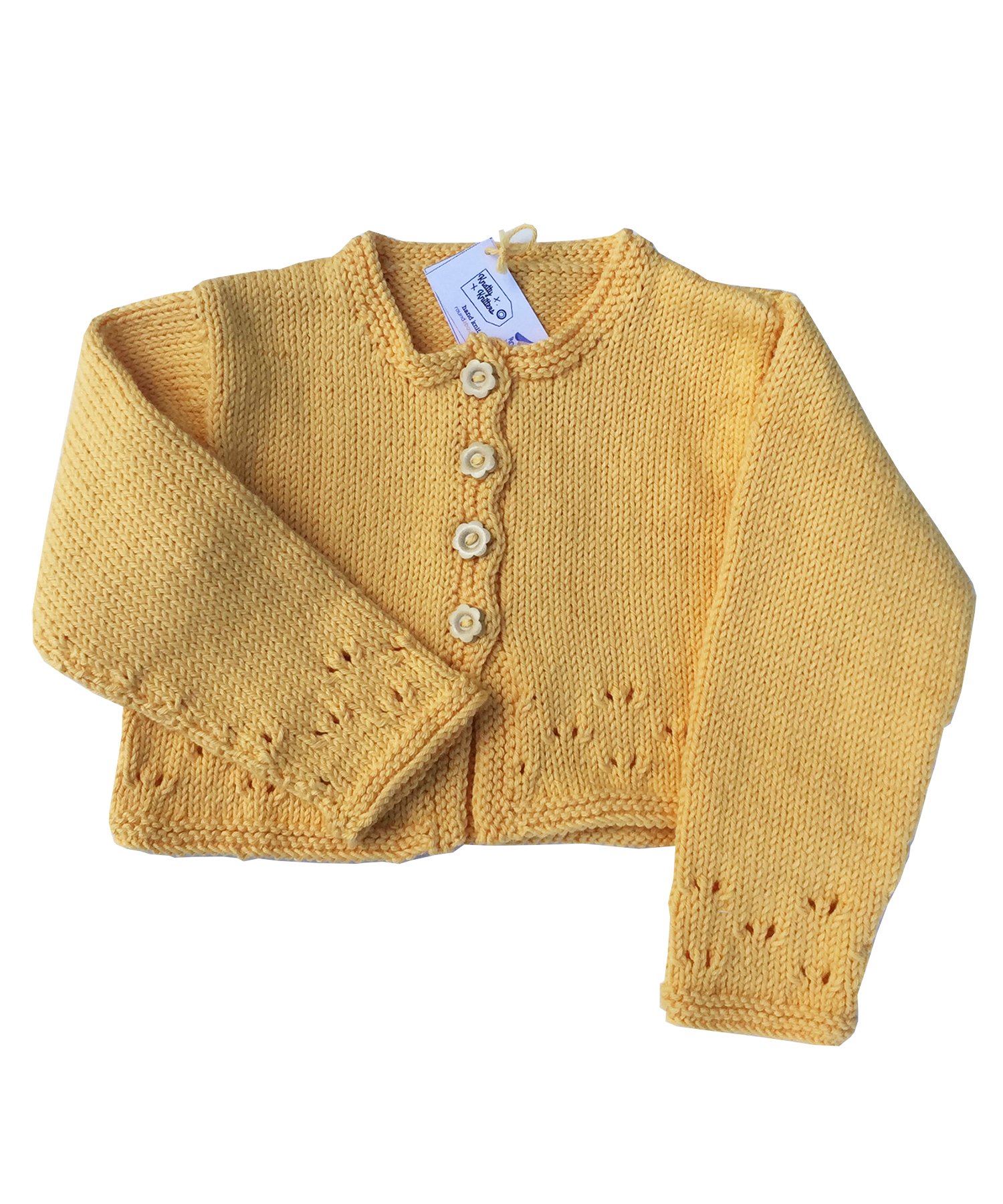 Hand knitted Daisy Cardigan in sunflower yellow
