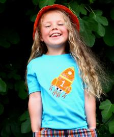 blue rocket cotton boy girl t-shirt