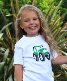 White green tractor cotton girl boy t-shirt