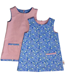 Blue floral winter pinafore