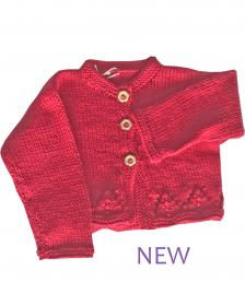Girls winter red cotton cardigan