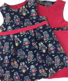 Girls Owl handmade pinafore