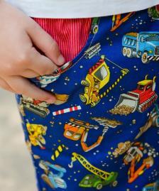 Reversible roadworks/red stripe cotton summer shorts