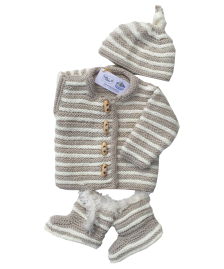 Cream hand knitted baby set
