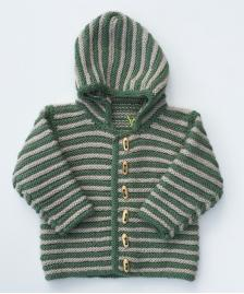 Hand knitted cypress green and parchment log hooded jacket