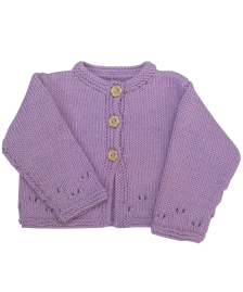 Girls lilac cotton cardigan with daisy buttons