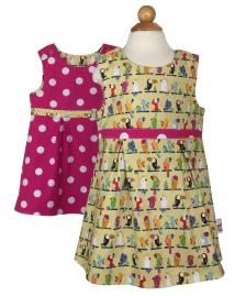 Reversible girls yellow parrot dress