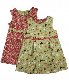 Girls reversible green chicken and floral red poppy dress