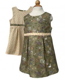 Reversible girls green summer dress