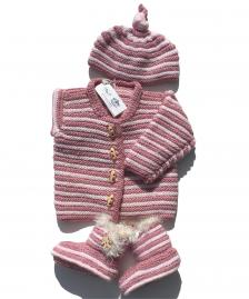 Rose pink knitted baby set