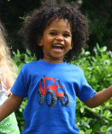 Royal blue t-shirt red tractor cotton boy girl t-shirt