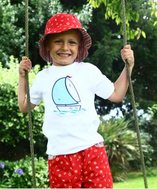 white sailboat applique short sleeve girl boy cotton t-shirt