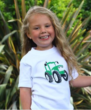 White green tractor cotton girl boy t-shirt