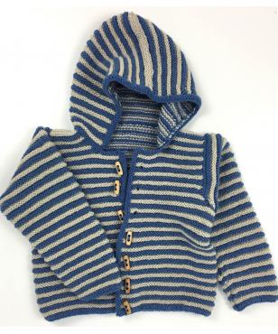 Hand-knitted Kids blue hooded cardigan