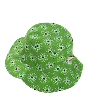 Reversible atomic green or grey stripe cotton summer hat