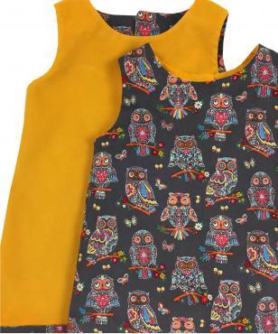 Reversible yellow Corduroy Owl Dress