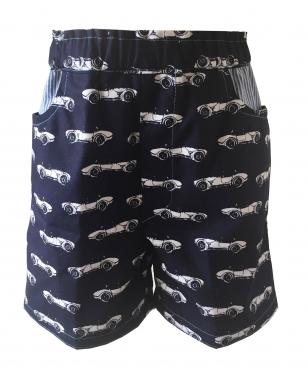 Reversible handmade navy car shorts for boys and girls