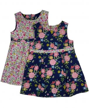 navy blue bee floral girls dress