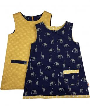 Navy giraffe girls dress and mustard polka dot dress