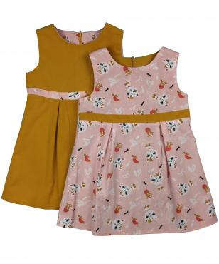 Pink dress with scatter mercat print and mustard corduroy reverse
