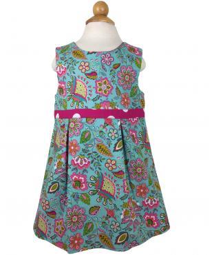 Reversible turquoise flower dress