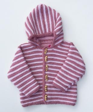 Hand knitted rose pink and soft peach striped hooded jacket