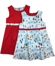 Girls blue cotton ski dress