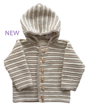 Cream hand knitted childs jacket