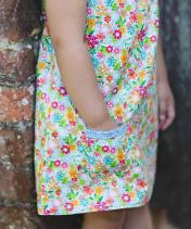 Reversible multi-coloured floral girls cotton summer dress