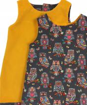 Reversible yellow Corduroy Owl Dress