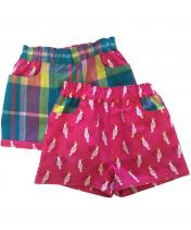 Reversible children's pink parrot shorts