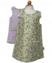 Reversible girls green flower dress