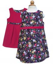 Reversible navy floral girls pinafore