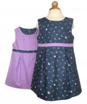 Reversible Spring Dress blue with tiny wildlife motifs and lilac polka dot reverse