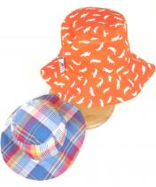 Reversible orange snappy crocodile hat with blue check reverse summer hat