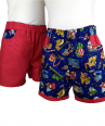 Reversible roadworks/red stripe cotton summer shorts
