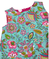 girls dress in bright turquoise and pink floral print