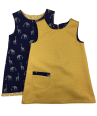 Mustard polka dot girls aline dress